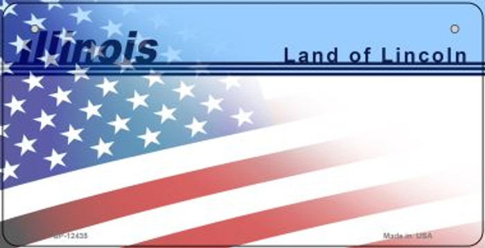 Illinois with American Flag Novelty Metal Bicycle Plate BP-12435