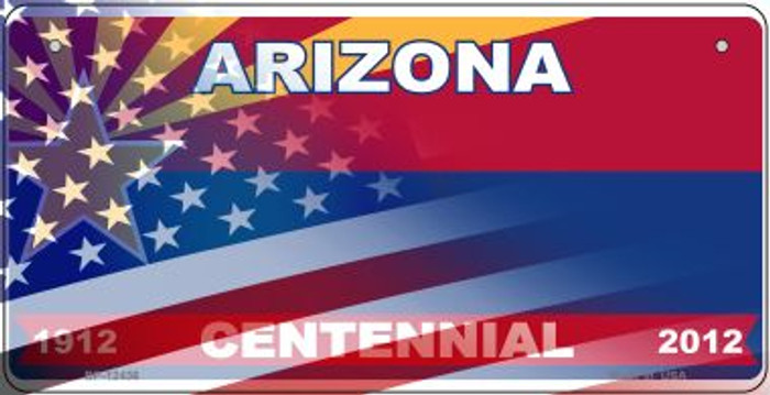 Arizona with American Flag Novelty Metal Bicycle Plate BP-12436