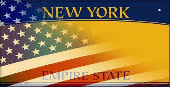 New York with American Flag Novelty Metal Bicycle Plate BP-12441