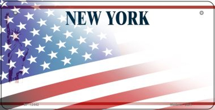New York with American Flag Novelty Metal Bicycle Plate BP-12442