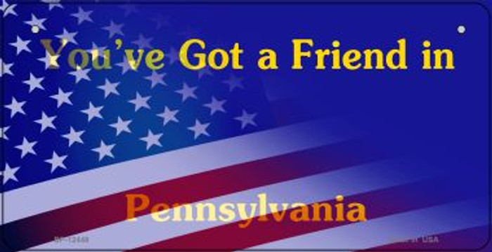 Pennsylvania with American Flag Novelty Metal Bicycle Plate BP-12448