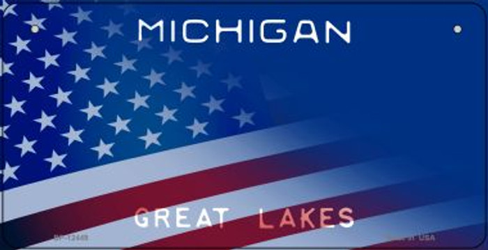 Michigan with American Flag Novelty Metal Bicycle Plate BP-12449