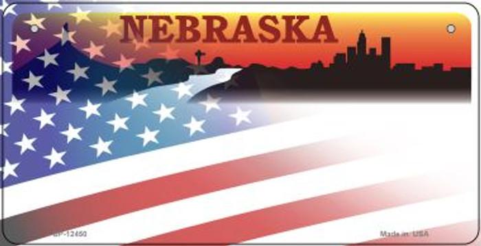 Nebraska with American Flag Novelty Metal Bicycle Plate BP-12450