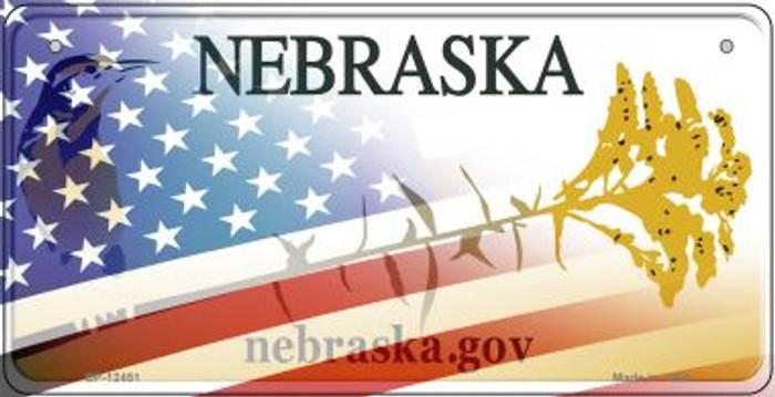 Nebraska with American Flag Novelty Metal Bicycle Plate BP-12451