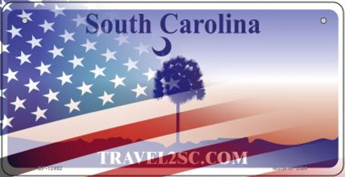 South Carolina with American Flag Novelty Metal Bicycle Plate BP-12452
