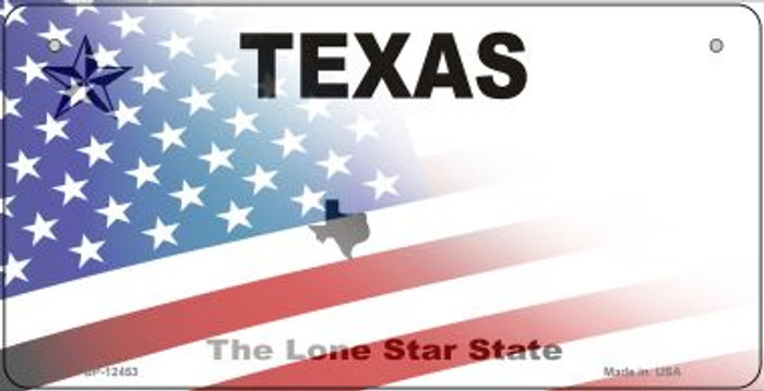 Texas with American Flag Novelty Metal Bicycle Plate BP-12453