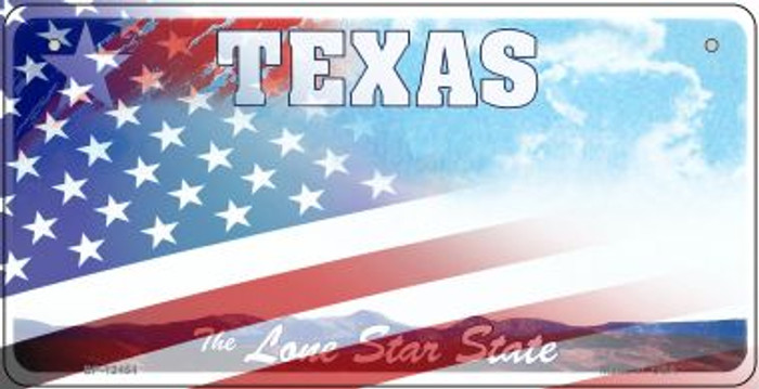 Texas with American Flag Novelty Metal Bicycle Plate BP-12454