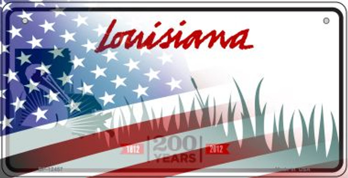 Louisiana with American Flag Novelty Metal Bicycle Plate BP-12457