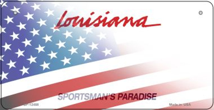 Louisiana with American Flag Novelty Metal Bicycle Plate BP-12458