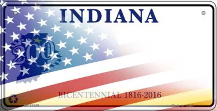 Indiana with American Flag Novelty Metal Bicycle Plate BP-12459