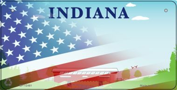 Indiana with American Flag Novelty Metal Bicycle Plate BP-12461