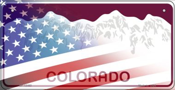 Colorado with American Flag Novelty Metal Bicycle Plate BP-12462