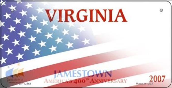 Virginia with American Flag Novelty Metal Bicycle Plate BP-12464
