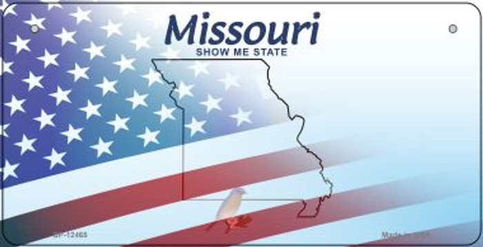 Missouri with American Flag Novelty Metal Bicycle Plate BP-12465