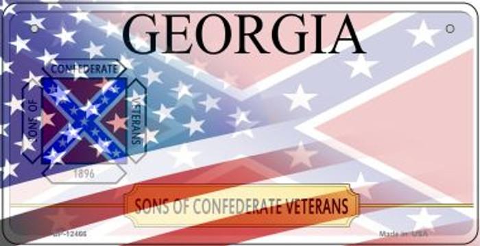 Georgia with American Flag Novelty Metal Bicycle Plate BP-12466