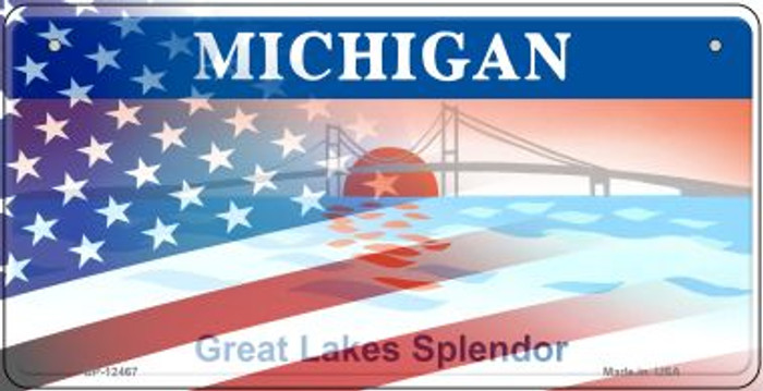 Michigan with American Flag Novelty Metal Bicycle Plate BP-12467