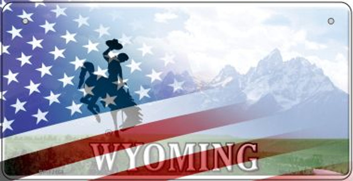 Wyoming with American Flag Novelty Metal Bicycle Plate BP-12468