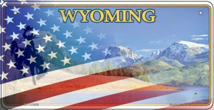 Wyoming with American Flag Novelty Metal Bicycle Plate BP-12469