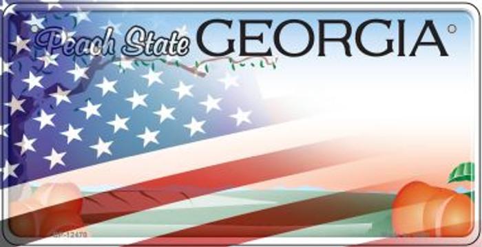 Georgia with American Flag Novelty Metal Bicycle Plate BP-12470
