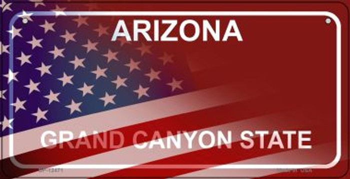 Arizona with American Flag Novelty Metal Bicycle Plate BP-12471