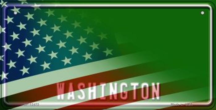 Washington with American Flag Novelty Metal Bicycle Plate BP-12472