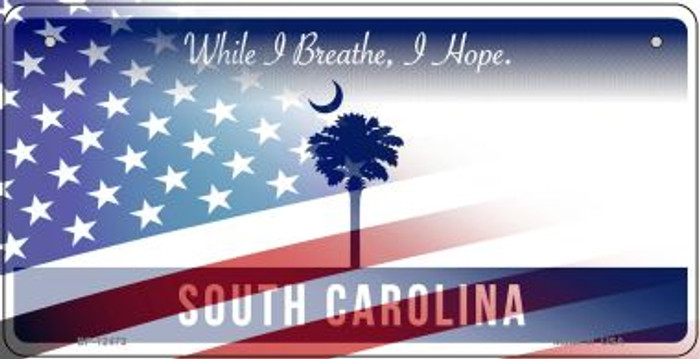 South Carolina with American Flag Novelty Metal Bicycle Plate BP-12473