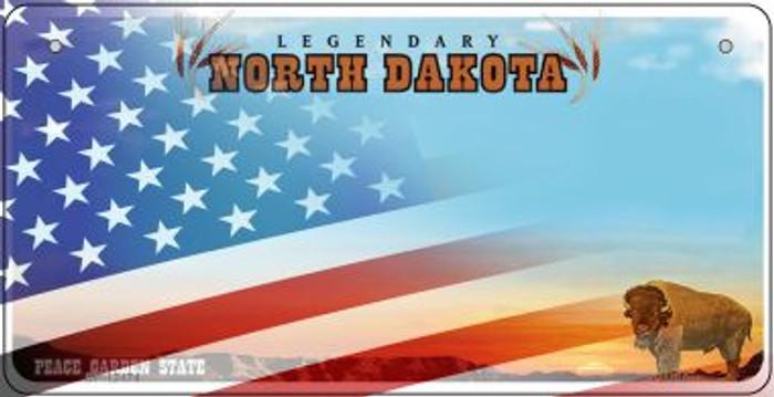 North Dakota with American Flag Novelty Metal Bicycle Plate BP-12474