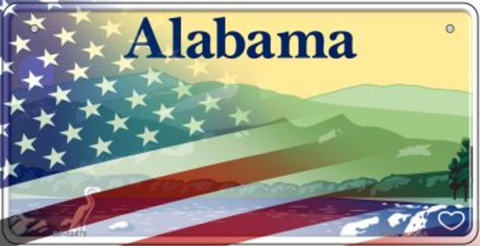 Alabama with American Flag Novelty Metal Bicycle Plate BP-12475