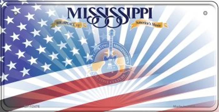 Mississippi with American Flag Novelty Metal Bicycle Plate BP-12476