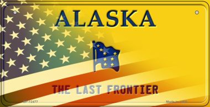 Alaska with American Flag Novelty Metal Bicycle Plate BP-12477