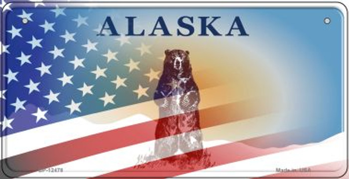 Alaska with American Flag Novelty Metal Bicycle Plate BP-12478