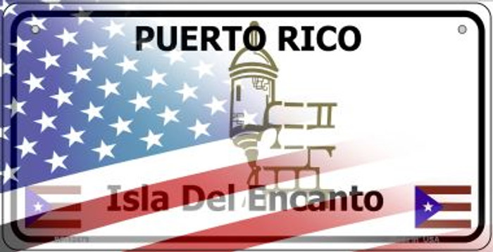 Puerto Rico with American Flag Novelty Metal Bicycle Plate BP-12479