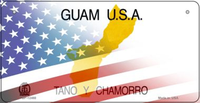 Guam with American Flag Novelty Metal Bicycle Plate BP-12480