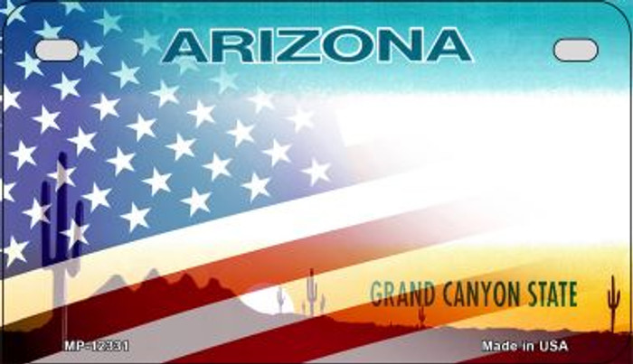 Arizona with American Flag Novelty Metal Motorcycle Plate MP-12331
