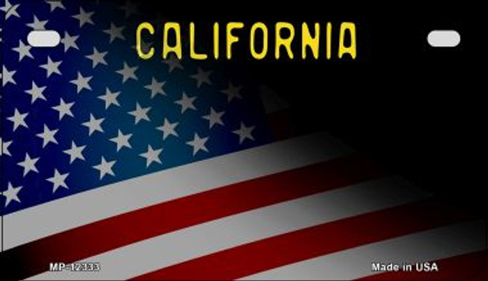 California with American Flag Novelty Metal Motorcycle Plate MP-12333