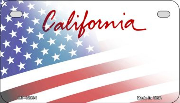 California with American Flag Novelty Metal Motorcycle Plate MP-12334