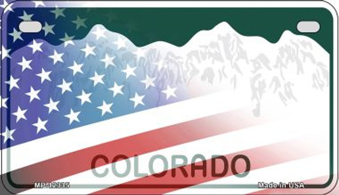 Colorado with American Flag Novelty Metal Motorcycle Plate MP-12335