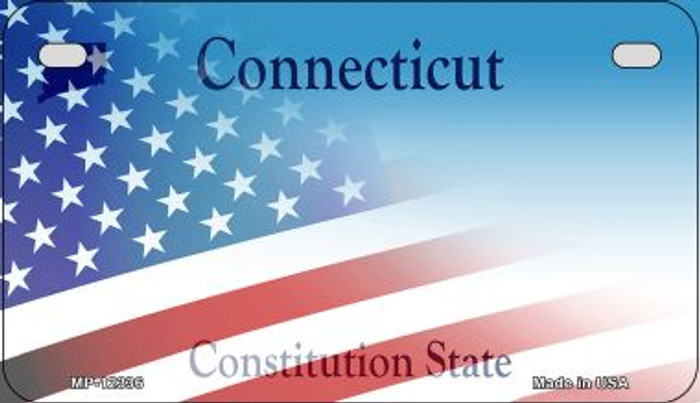Connecticut with American Flag Novelty Metal Motorcycle Plate MP-12336