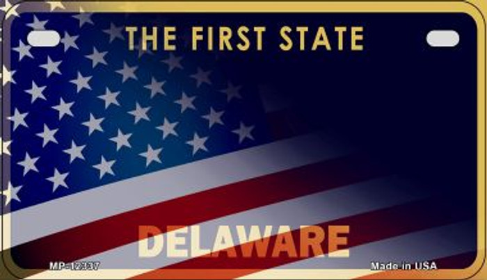 Delaware with American Flag Novelty Metal Motorcycle Plate MP-12337
