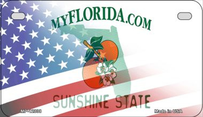 Florida with American Flag Novelty Metal Motorcycle Plate MP-12338