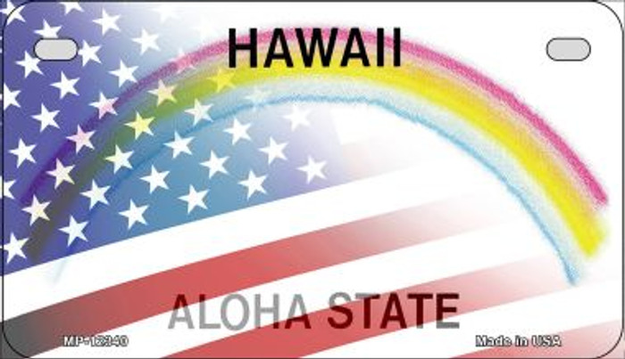 Hawaii with American Flag Novelty Metal Motorcycle Plate MP-12340