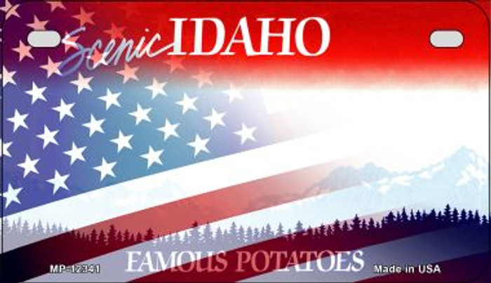 Idaho with American Flag Novelty Metal Motorcycle Plate MP-12341