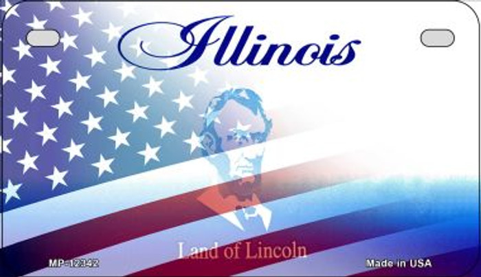 Illinois with American Flag Novelty Metal Motorcycle Plate MP-12342