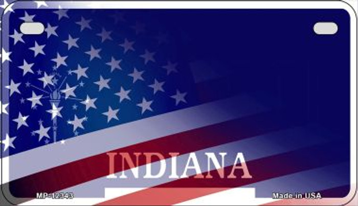 Indiana with American Flag Novelty Metal Motorcycle Plate MP-12343