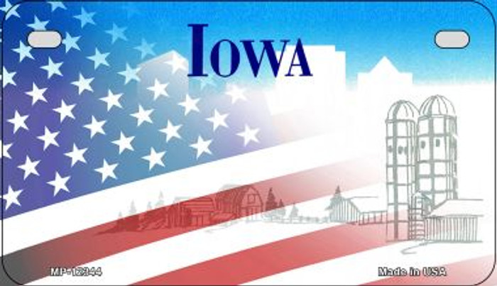 Iowa with American Flag Novelty Metal Motorcycle Plate MP-12344