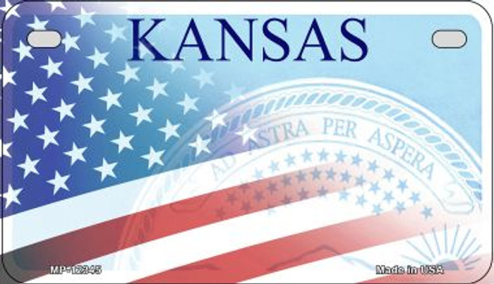 Kansas with American Flag Novelty Metal Motorcycle Plate MP-12345