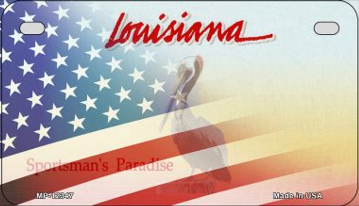 Louisiana with American Flag Novelty Metal Motorcycle Plate MP-12347
