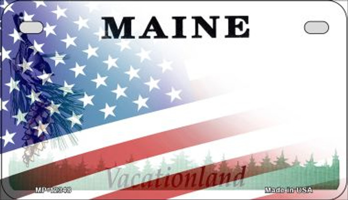 Maine with American Flag Novelty Metal Motorcycle Plate MP-12348