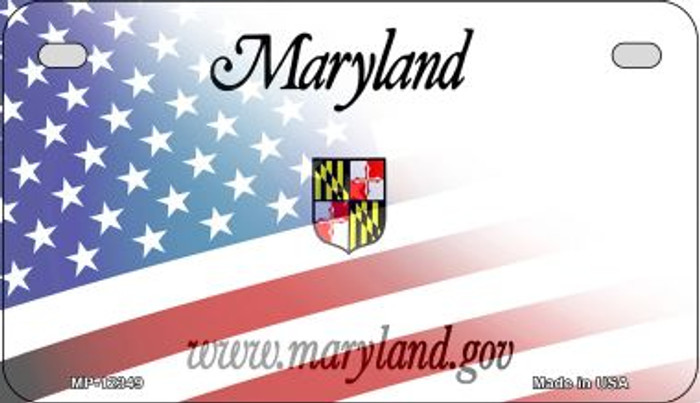 Maryland with American Flag Novelty Metal Motorcycle Plate MP-12349