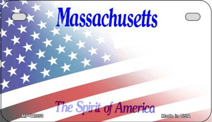 Massachusetts with American Flag Novelty Metal Motorcycle Plate MP-12350